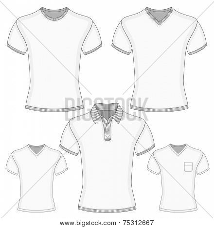 Men's short sleeve polo shirt and t-shirt design templates (front view). Vector illustration.