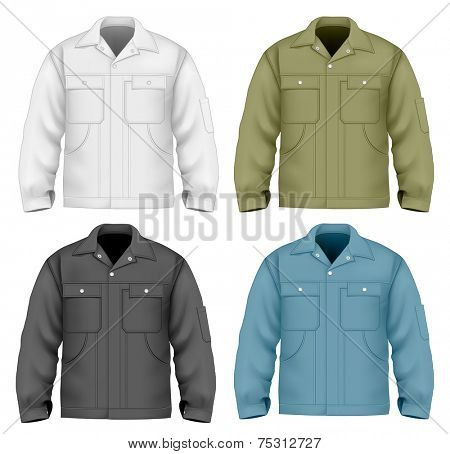 Men's work jacket (front views). Vector illustration contains gradient mesh.