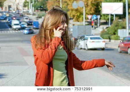 Girl Trying To Stop The Car On The Road