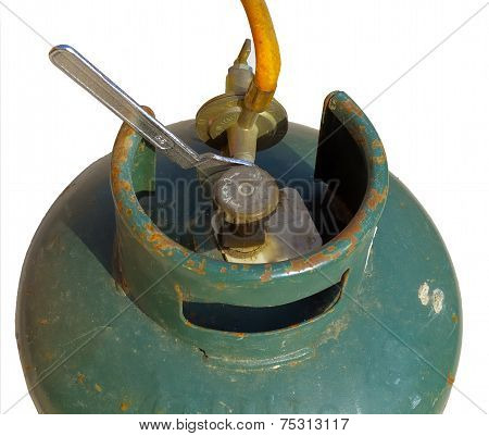 old gas bombola with regulator monkey wrench to tighten