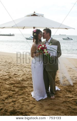 Bride & Groom on Beach Just Married