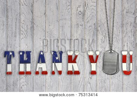 military thank you with dog tags