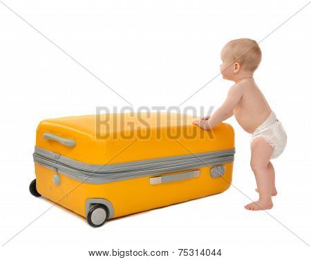 Happy Infant Baby Toddler Sitting In Yellow Plastic Travel Suitcase