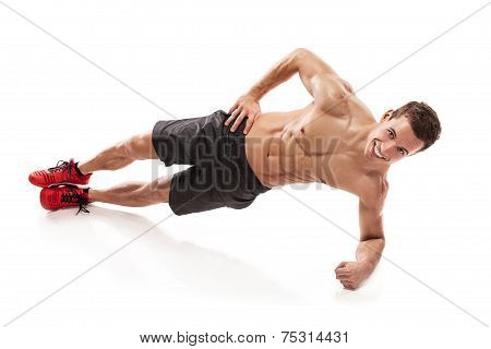 Muscular Bodybuilder Guy Doing Pushups