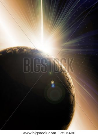 Abstrato de ilustração da Solar eclipse por trás do planeta terra