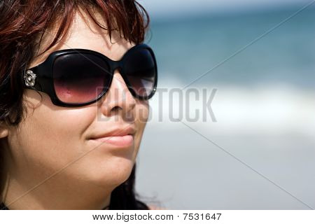 Smiling Beach Woman