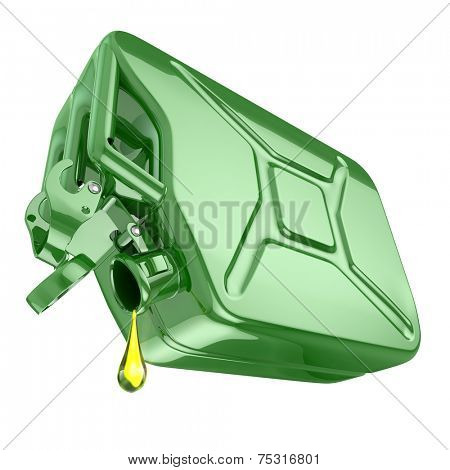 One last drop of fuel from jerrycan. Engine oil and green canister isolated on white background. 3d