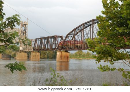 Bridge over river with train
