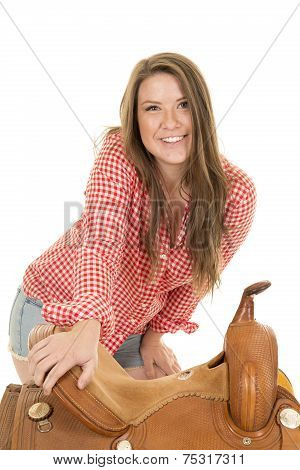 Cowgirl Red White Shirt Saddle Lean By