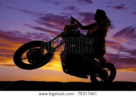 Silhouette Woman Sit On Motorcycle Hair Blow