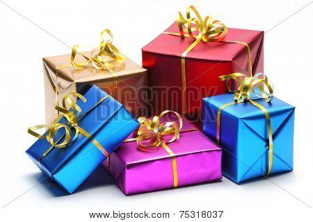 Shiny gift boxes on white background