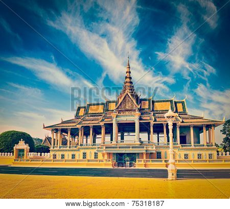 Vintage retro effect filtered hipster style image of  Royal Palace complex, Phnom Penh, Cambodia