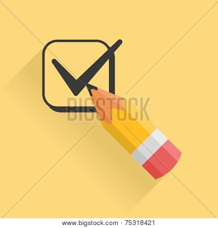 Icon representing pencil and checkbox filled with tick mark