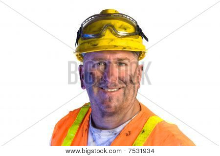 Dirty Construction Worker Wearing Hard Hat