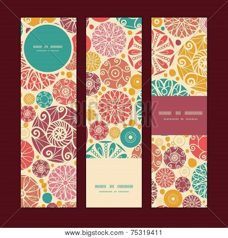 Vector abstract decorative circles vertical banners set pattern background