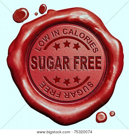 sugar free diet low in calories red wax seal stamp button
