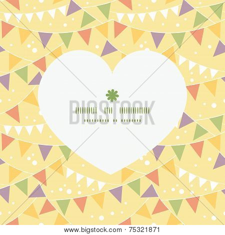 Vector party decorations bunting heart silhouette pattern frame