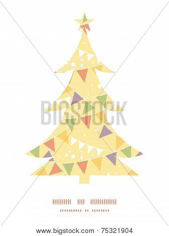 Vector party decorations bunting Christmas tree silhouette pattern frame card template