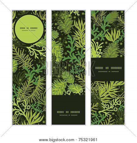 Vector evergreen christmas tree vertical banners set pattern background