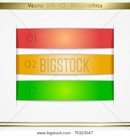Modern vector paper sheet infographics list elements with pockets