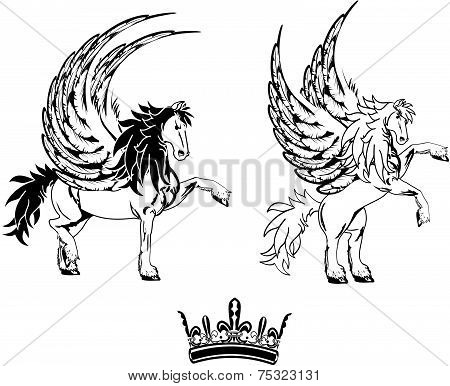 pegasus horse sticker tattoo set1