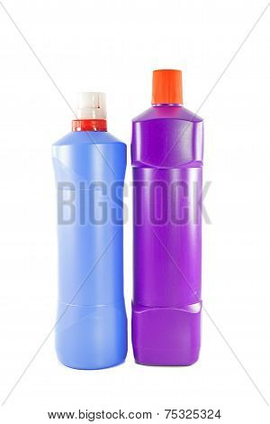 Two Toilet Cleaner Bottle On White Background