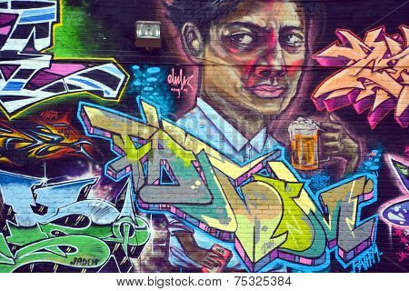 Street art Montreal beer drinker
