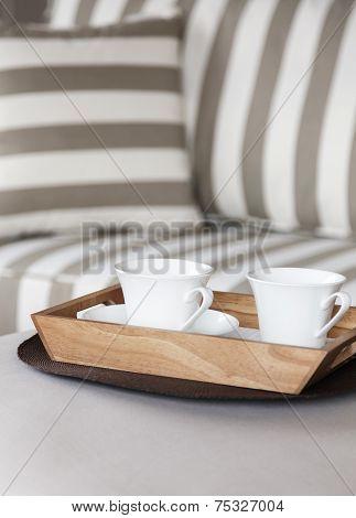 coffee on sofa interior decoration