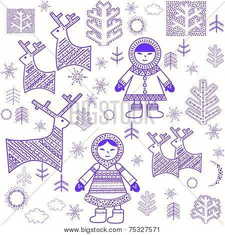 Winter wallpaper with Eskimo. Raster copy