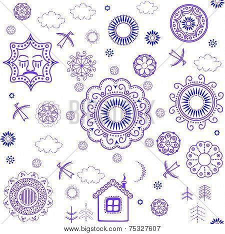 Shrovetide wallpaper with blue pattern. Raster copy
