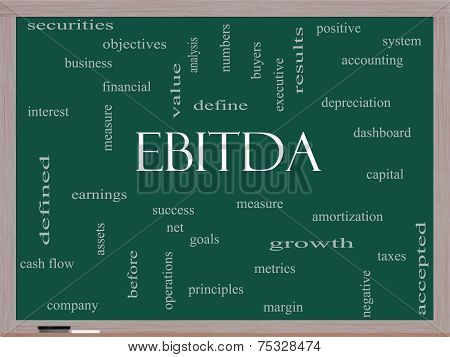 Ebitda Word Cloud Concept On A Blackboard
