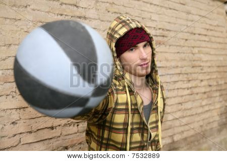 Grunge Basket Ball Street Player On Brickwall