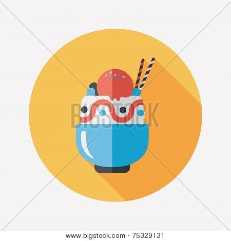 Sundae Flat Icon With Long Shadow,eps10