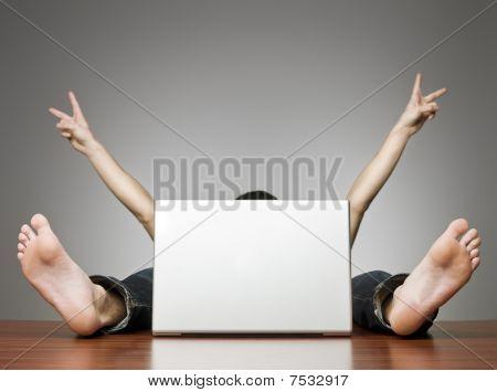 Happy Man Behind Computer