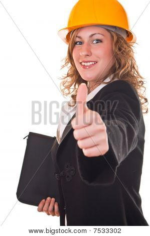 Businesswoman With Helmet Holding Thumb Up