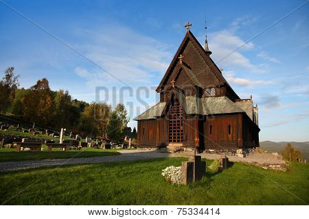 Beautiful view of Reinli stave church, Sør-Aurdal, Norway