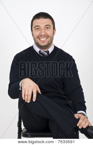 Business Man Sitting In Chair