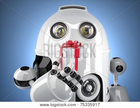 Robot With Tiny Gift Box. Isolated On White. Contains Clipping Path