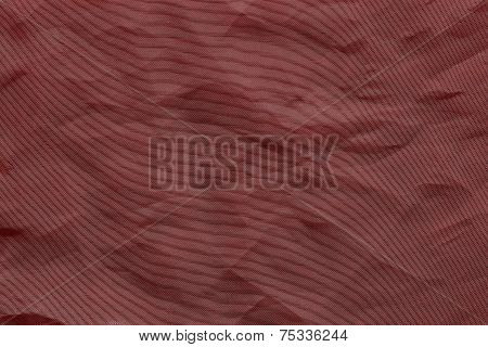 Crumpled Mesh Synthetic Fabric Of Crimson Color