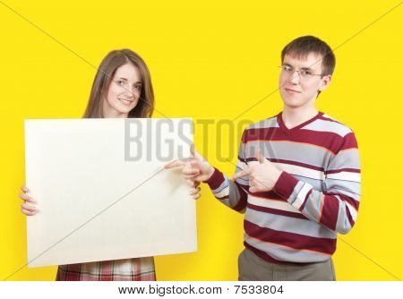 Nice Teens With Banner