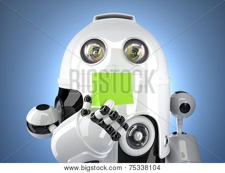 Android Robot With Shopping Bag. Contains Clipping Path