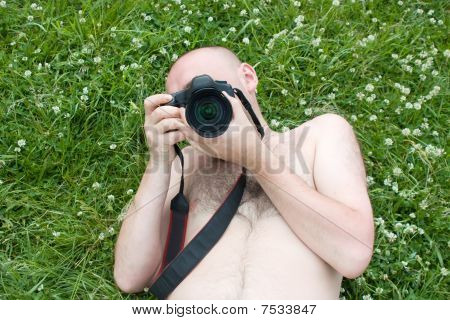 Camera Boy  Over Green Meadow