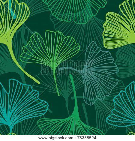 Green leaf seamless pattern. Ginkgo Biloba Leaves Seamless Background. Vector illustration. Good idea for textile, wallpaper, web or wrap design