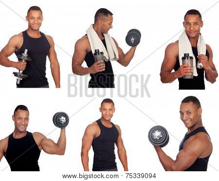 Sequence of latin man in the gym isolated on a white background