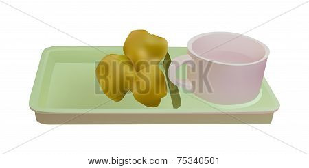 Hot Water Mug And Chinese Bread
