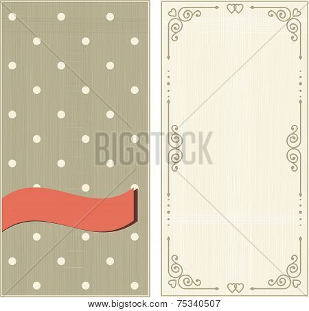 Set Of Invitation Cards On Polka Dots Background With Vintage Fr