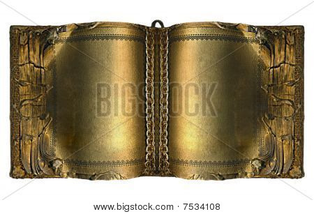Old Ancient Book With Gold Pages Isolated On White Background