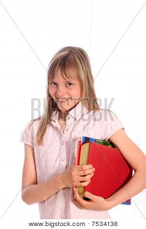 Blond, Smiling Girl With Books