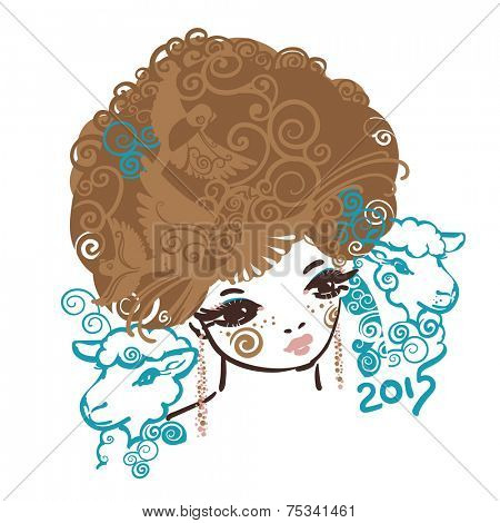 Girl with the curly volume hairs and two sheep. A symbol of Year 2015