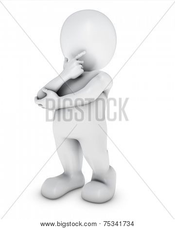 3D Render of Morph Man thinking